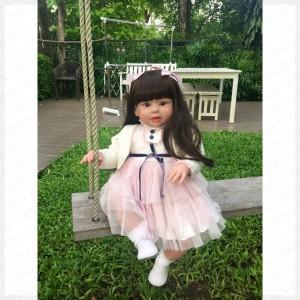 人形 トドラー人形 プリンセスドール リボーンドール 抱き人形 約70cm 衣装付き 黒髪ロングヘア 選べるアイカラー 女の子