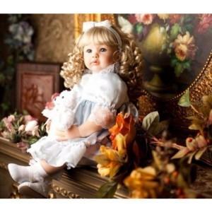 リボーンドール 赤ちゃん人形 金髪 カールヘア 衣装付き プリンセスドール トドラードール  ベビードール 24インチ