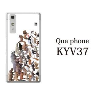 KYV37 Qua Phone kyv37 カバー ハード/キュア フォン/ケース/au/クリア アニマルズ動物 キリン ライオン