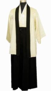 高品質ベージュ日本人男性戦士着物羽織ヴィンテージ浴衣付き帯パフォーマンスダンス衣装ワンサイズ Beige
