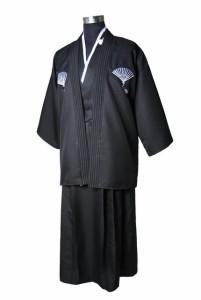 高品質ベージュ日本人男性戦士着物羽織ヴィンテージ浴衣付き帯パフォーマンスダンス衣装ワンサイズ Black