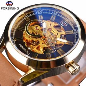メンズウォッチ Forsining 高級 自動巻 機械式 腕時計 防水 カジュアル スポーツ スケルトン ブラ