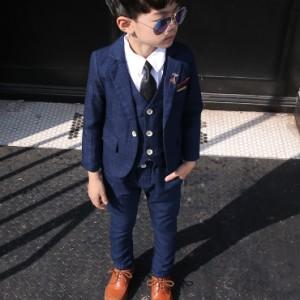 男の子 子供服  キッズスーツフォーマル スーツ フォーマル 男の子スーツ ウィンドウペン 上下セット ジャケット パンツ ベスト おしゃれ