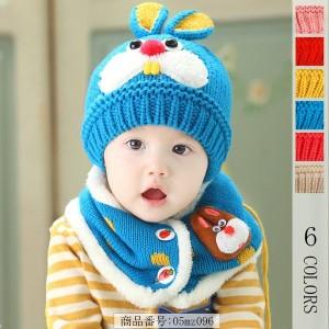 23673e35e60e42 ニット帽 ベビー 帽子 アウトドア 黄色 キャップ キッズ 子供 UV 秋冬 兎の耳付き スヌード