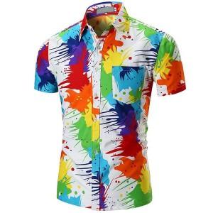 メンズ シャツ 半袖  砂浜シャツ カジュアルシャツ ネルシャツ ユニセックス  個性 芸術