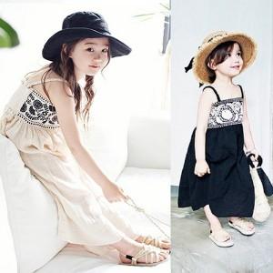 韓国子供服 ロングワンピース リゾートワンピース フォーマルワンピース 女の子 レースワンピース  子ども ロングワンピース ブラッ