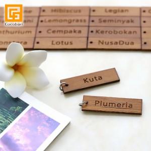 「バリの地名」や「お花」のミニプレート※丸カン付き  ホテル キーホルダー ルームキー ルームキーホルダー メール便対応可