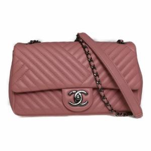 6c191c87c4e2 【中古】 シャネル(Chanel) Vステッチ シェブロン ラムスキン チェーンショルダーバッグ ダブルチェーン