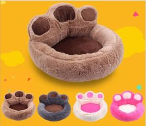 送料無料!Lサイズ ペットベッド ペット ベッド 猫 犬 肉球型 柔らかい 可愛い ふわふわ 通年用 小/中型犬四季 暖かい 保温 快適 便利 愛