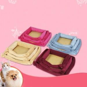 送料無料!Mサイズ 夏 ペットベッド(夏ござ付き)高品質 涼しい ペット マット 犬/猫用 可愛い 軽量 取り外せる 便利 快適 安心 柔らかい