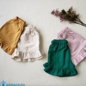 c7d705287fd256 韓国子供服 フリル付きリネンショートパンツ ボトムス ナチュラル 韓国 子供服 韓国こども服