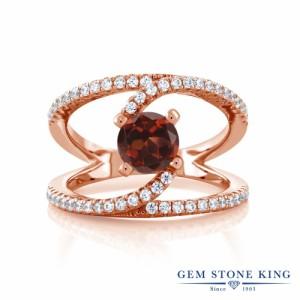 指輪 リング レディース 1.58カラット 天然 ガーネット シルバー925 ピンクゴールドコーティング 大粒 カクテル 天然石 1月 誕生石 金属