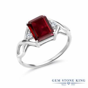 指輪 リング レディース 2.64カラット 天然 ガーネット 合成ダイヤモンド シルバー925 四角い ツイスト ねじれ 透かし 大粒 かっこいい