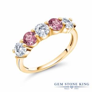指輪 リング レディース 0.87カラット 合成ダイヤモンド シルバー925 イエローゴールドコーティング 5連 ダイヤ 小粒 プレゼント 女性 彼