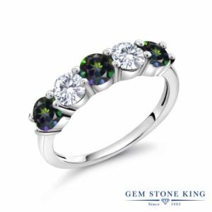 指輪 リング レディース 1.54カラット 天然石 ミスティックトパーズ (グリーン) 合成ダイヤモンド シルバー925 5連 小粒 プレゼント 女性
