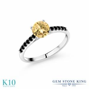 指輪 リング レディース 1.2カラット 天然石 トパーズ ハニースワロフスキー 天然ブラックダイヤモンド 10金 ホワイトゴールド(K10) 一粒