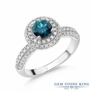 指輪 リング レディース 1.32カラット 天然 ブルーダイヤモンド モアサナイト シルバー925 パヴェ ヘイロー ブルー ダイヤ 派手 天然石 4