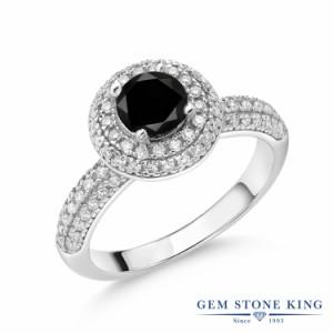 指輪 リング レディース 1.32カラット 天然ブラックダイヤモンド モアサナイト シルバー925 パヴェ ヘイロー ブラック ダイヤ 派手 天然