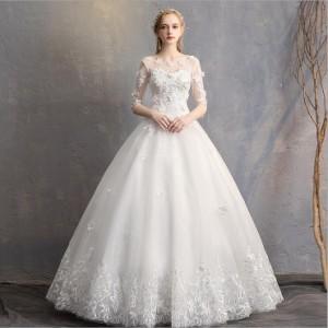 激安 花嫁ウエディングドレス  袖あり二次会 結婚式 発表会ステージドレス フォーマルドレス パーティードレス 白 ホワイト 撮影 大きい