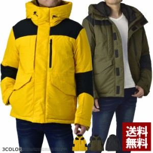 中綿ジャケット メンズ ブルゾン アウター フード でかポケット ポリリップル 厚手 防寒【C4K】の画像