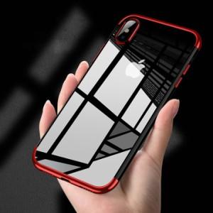 アイフォンケース iPhone iPhoneケース ケース クリアケース クリア 透明 TPU素材 やわらかい レッド ブラック ブルー ローズゴールド
