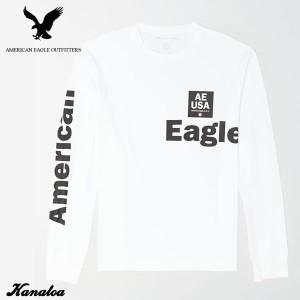 アメリカンイーグル ロングTシャツ ロンT 長袖 メンズ AE Long Sleeve Graphic T-Shirt ホワイト 大きいサイズ