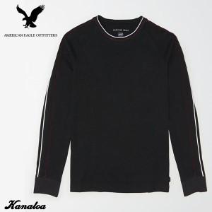 アメリカンイーグル ロングTシャツ ロンT 長袖 メンズ AE Long Sleeve Tipped T-Shirt ブラック 大きいサイズ