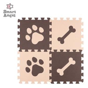 SmartAngel)抗菌くみあわせマット8枚入り(ブラウン&ベージュ:DOG PAW)[ジョイントマット マット ジョイント プレイマット ベビー 赤