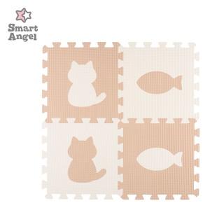 SmartAngel)抗菌くみあわせマット8枚入り(カフェラテ&ミルク:CAT PEACE)[ジョイントマット マット ジョイント プレイマット ベビー