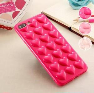 iPhone7Plus/8Plus ソフトケース ケース カバー ハート ピンク 綺麗 キレイ ストラップ付き 柔らかい tpu heart インスタ映え キュート