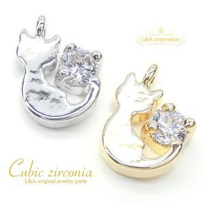 【2個】キュービックジルコニアチャームCubic zirconia 縦向き開閉 カン付きCubic cat かわいいネコちゃん
