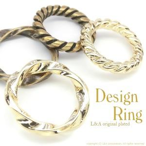 【2個】人気デザインリングパーツ ツイストメタルリングパーツ solid ring&wave ring フレームパーツ