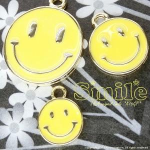 【2個】Smiley8mm イエローカラーチャーム 人気の黄色スマイルニコちゃんパーツ にこちゃん笑顔になれるhappyモチーフ