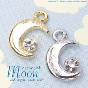 【2個】三日月ムーンチャームクリスタルストーン付き crescentmoonクレセントcrystalstone 簡単ハンドメイド
