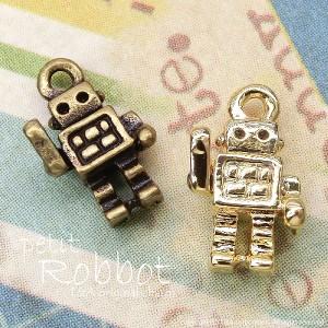 【2個】petit robot 小さいロボットのプチパーツ カン付き 金属チャーム L&Aの高品質上質特殊鍍金で変色耐久度up!