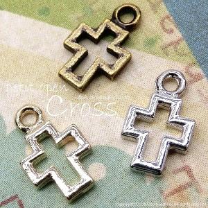 【2個】petit open cross オープンクロスのプチチャーム  L&Aの高品質上質鍍金で変色耐久度up! 簡単オシャレ