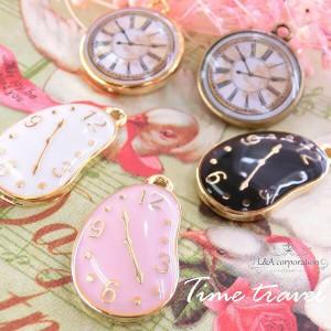 【2個】Time travel アリスの時計♪未来時計♪カラーチャーム 人気のAliceシリーズ 金属チャーム ハンドメイド用