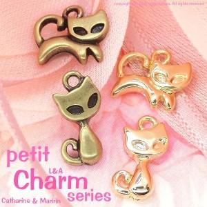 """【2個】ちっちゃいかわいい猫ちゃんチャーム""""petit Maririn&Catharine"""" L&Aの高品質上質鍍金 金属パーツ"""