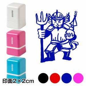 毘沙門天 七福神スタンプ浸透印 印面2×2cmサイズ (2020) Self-inking stamp, Seven Gods of Good Fortune