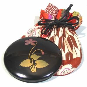 【手鏡・ハンドミラー】漆塗り プチ手鏡 誕生花 (MA-504) 袋付き 女性への誕生日プレゼントやお祝い、外国の方へのおみやげに ※袋