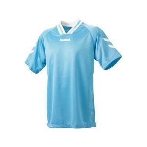 ◆◆送料無料 メール便発送 <ヒュンメル> HUMMEL HJG3001 ジュニア半袖ゲームシャツ(75:サックス×ホワイト) ヒュンメル ゲームシャツ
