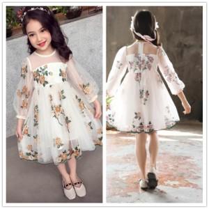 女の子ワンピ 刺繍 ワンピースドレス カラードレス キッズワンピース Aライン チュニック 子供ドレス 結婚式 ジュニア フォーマルドレス
