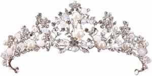 ティアラ ヘッドドレス ヘアアクセサリー ティアラ 結婚式 ウェディング 小物 ジュエリー Pパール ビーズ ライトストーン 王冠 花嫁 ブラ
