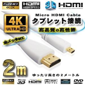スマホ接続 HDMI - Micro HDMI 変換 HDMIケーブル 2m ホワイト
