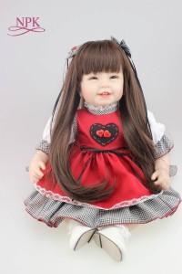 リボーンドール55センチ笑顔ロングヘア女の子リボーンドール赤ちゃんベビー人形ベビードールトドラードール