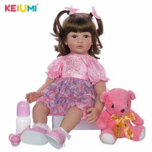 新作リボーンドールー ピンク花柄ドレス プリンセスドール トドラー人形 赤ちゃん人形 ベビードール 綿&シリコン