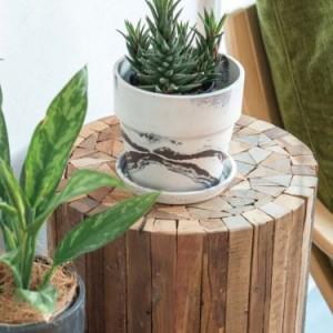 アーバンプランツポットマーブルL直径19.5cm植木鉢ガーデニンググリーン観葉植物ベランダインテリア花プランタープラスチックウッドパウ