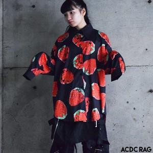 イチゴシャツ 原宿系 ファッション シャツ ブラウス クレリック 長袖 パンク ロック V系 病みかわいい 病みカワ 大きいサイズ レディース