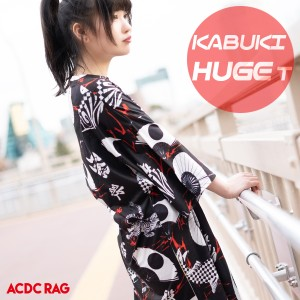 カブキ ヒュージTシャツ 原宿系 ファッション Tシャツ ワンピT パンク ロック V系 和柄 和風 歌舞伎 オーバーサイズ 大きいサイズ レディ