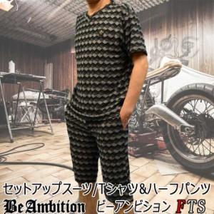 BeAmbition セットアップスーツ 半袖Tシャツ ハーフパンツ 縞柄T 上下セット  グレー メンズ  ビーアンビション 夏